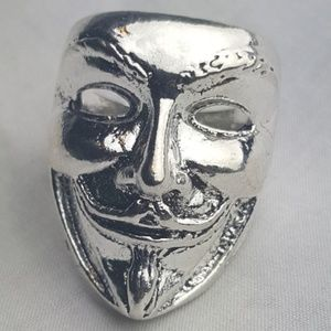 Other - Anonymous Guy Fawkes Mask Punk Rock Ring Silver